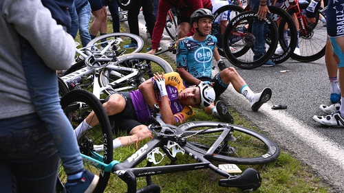 A number of cyclists crashed to the ground in the incident