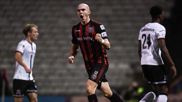 Georgie Kelly celebrates converting his spot-kick at the death