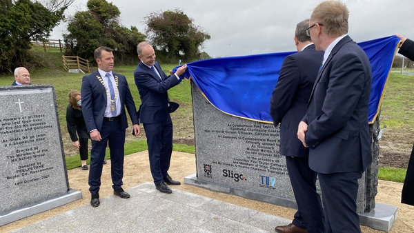 Taoiseach Micheál Martin unveils a monument to those who lost their lives on the old N4