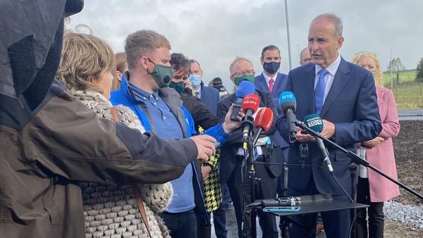Taoiseach Micheál Martin speaking to reporters in Sligo today
