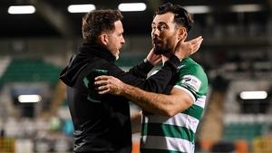 Shamrock Rovers manager Stephen Bradley congratulates goal scorer Richie Towell