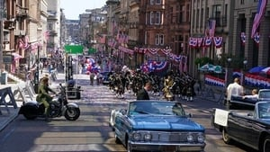 A parade scene on St Vincent Street in Glasgow city centre during filming for the new Indiana Jones 5 movie starring Harrison Ford (Andrew Milligan/PA)