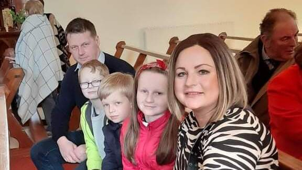 John O'Meara with his children and late partner Michelle Batey