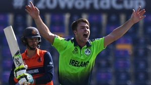 Curtis Campher celebrates after taking the wicket of the Netherland's Scott Edwards