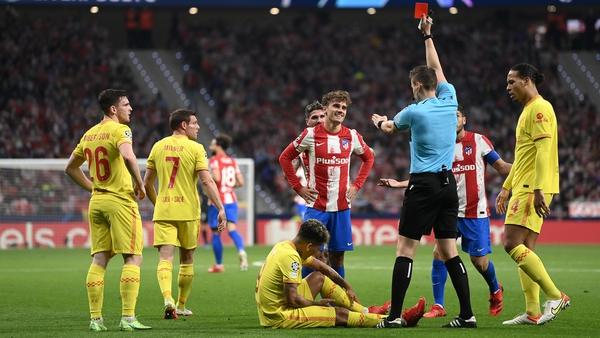 Antoine Griezmann sees red at Wanda Metropolitano