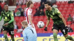 Dominic Solanke (right) scored his 14th goal of the season