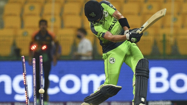 Ireland's Craig Young is bowled out by Sri Lanka's Dushmantha Chameera