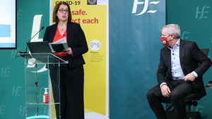 Anne O'Connor and Paul Reid at today's HSE operational update on the response to Covid-19