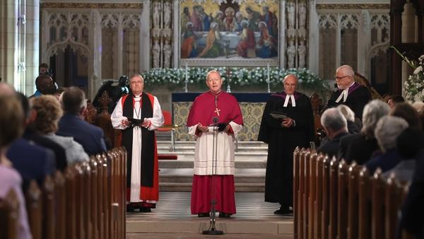 Archbishop Eamon Martin (C) speaking during the service