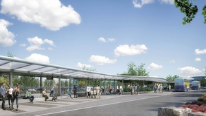 The new interchange will include a feature canopy with six bus bays