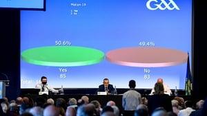 Uachtarán Chumann Lúthchleas Gael Larry McCarthy announces the result of Motion 19