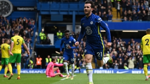 Ben Chilwell of Chelsea celebrates after putting his side four up against Norwich