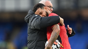 Watford manager Claudio Ranieri embraces hat-trick hero Joshua King at the final whistle