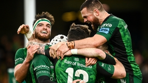 Connacht's players celebrate their second try of the game from Mack Hansen