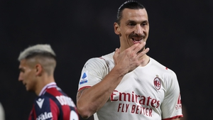 Zlatan Ibrahimovic of AC Milan reacts during the Serie A match between Bologna FC and AC Milan at Stadio Renato Dall'Ara on October 23, 2021 in Bologna, Italy. (Photo by Jonathan Moscrop/Getty Images)
