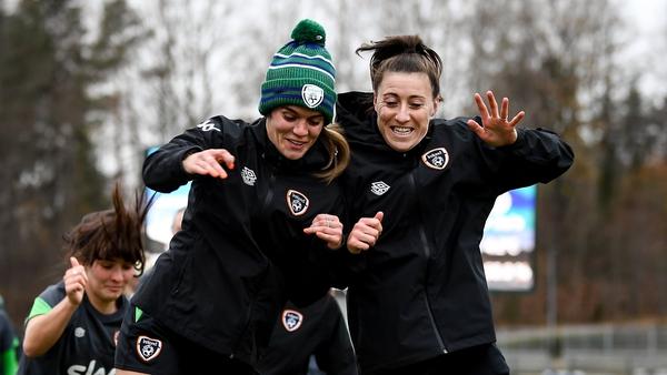 Jamie Finn, left, and Lucy Quinn training in Helsinki's Leppavaara Stadium