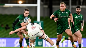 Jack Carty of Connacht is tackled by David McCann of Ulster