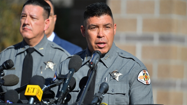 County Sheriff Adan Mendoza speaks during a press conference at the Santa Fe County Public Safety Building