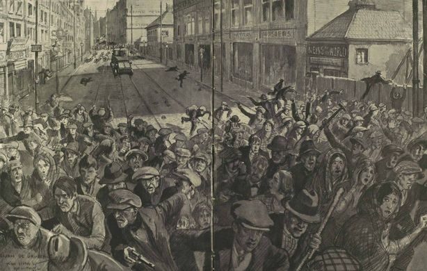 Drawing depicting Sinn Féiners fleeing the military and loyalist workers in Belfast. Photo: Illustrated London News, 11 September 1920