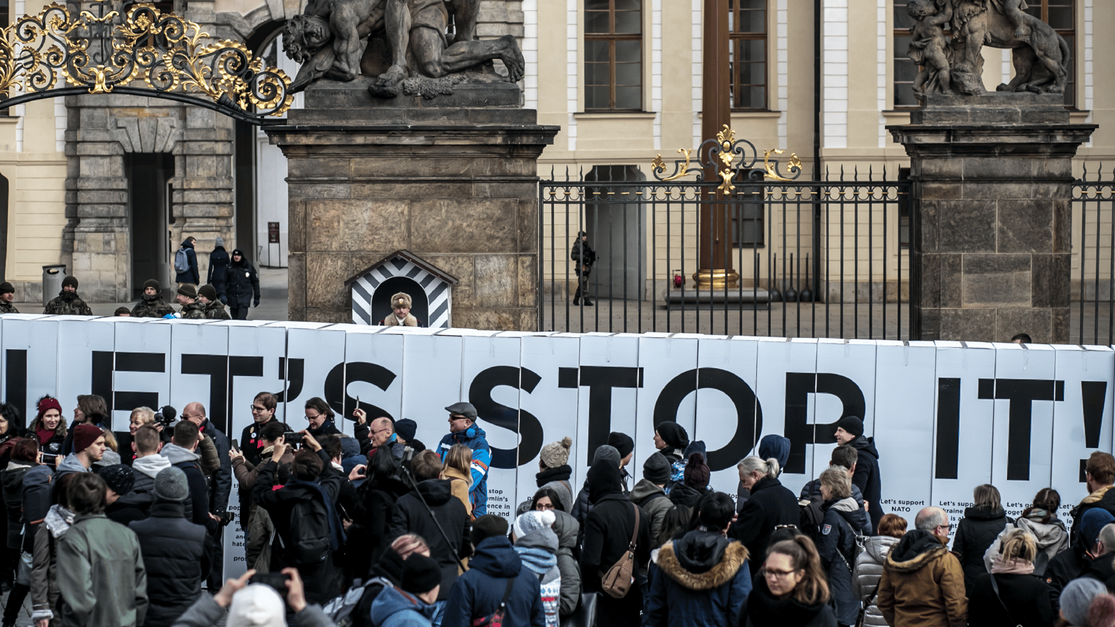 Image - Activists from 'Kaputin' group created a symbolic wall from large paper boxes.