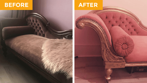 Before and after the chalk paint makeover