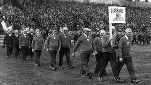 The nine surviving members of the 1892 Laune Rangers Kerry team, leading the parade during the opening ceremony of the Fitzgerald Stadium in Killarney in May 1936. Photo: Fitzgerald Stadium Archive