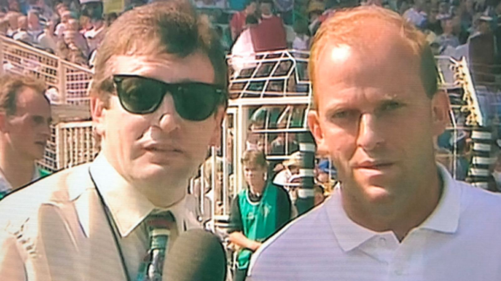 Image - RTÉ's sideline reporter Tony O'Donoghue grabs a few words with Ger Loughnane at half-time of 1995 Al