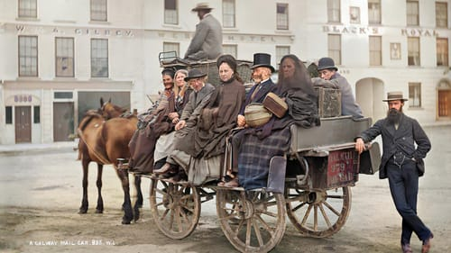 All aboard: passengers on a mail car near Black's Royal Hotel, Eyre Square, Galway circa 1880. From Old Ireland In Colour (Merrion Press)