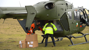 The vaccines were handed over to GPs on arrival, to be administered to residents on the islands (Image: Defence Forces)
