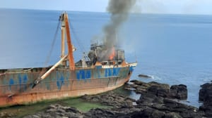 Firefighters had tackled the blaze last night on the shipwrecked MV Alta