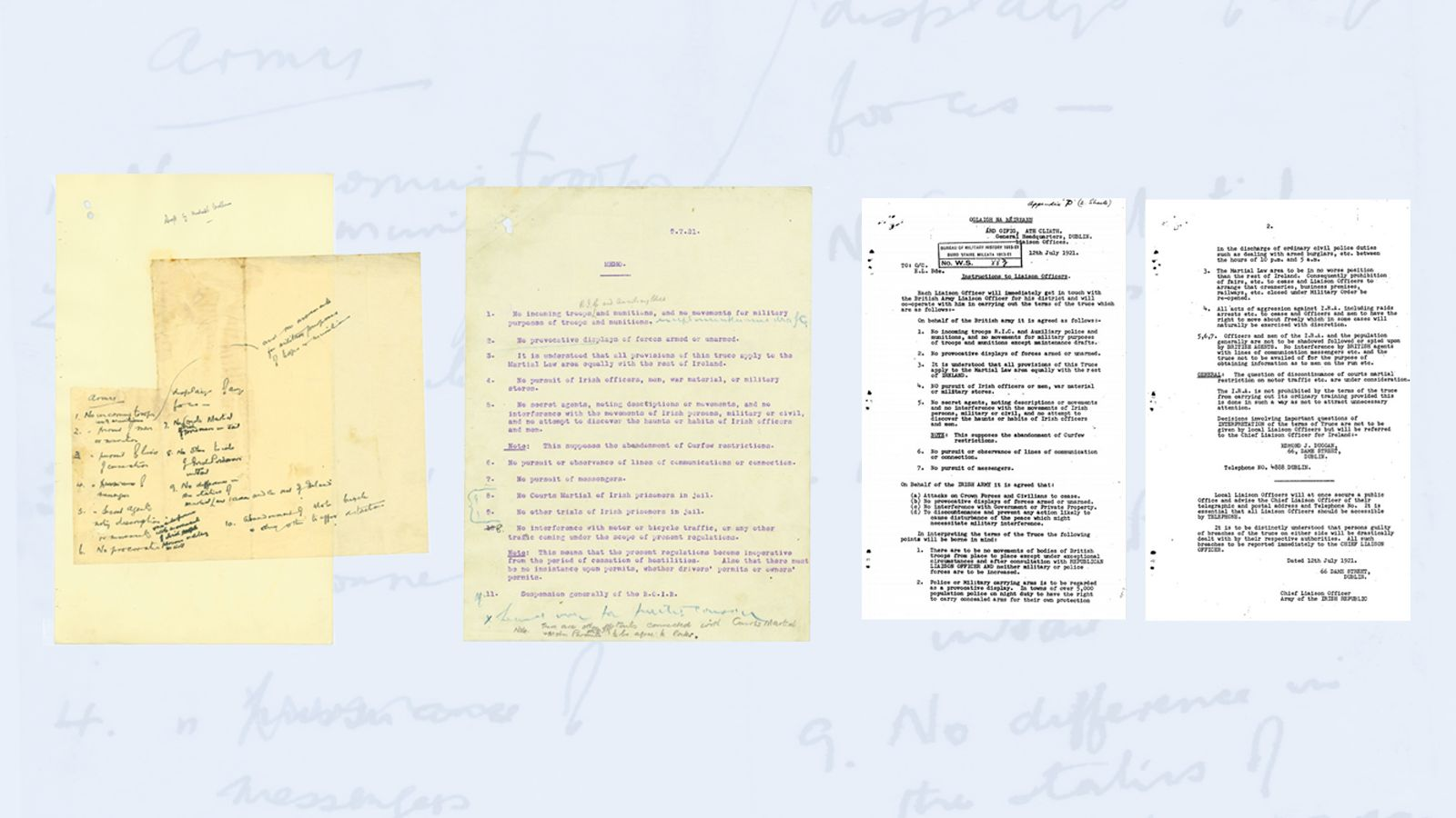 Image - THE FIRST DRAFT OF FREEDOM: How the Truce evolved from Michael Collins' handwritten first draft to the final instructions issued to IRA officers across the country (By kind permission of the National Archives / Bureau Collection in Military Archives)